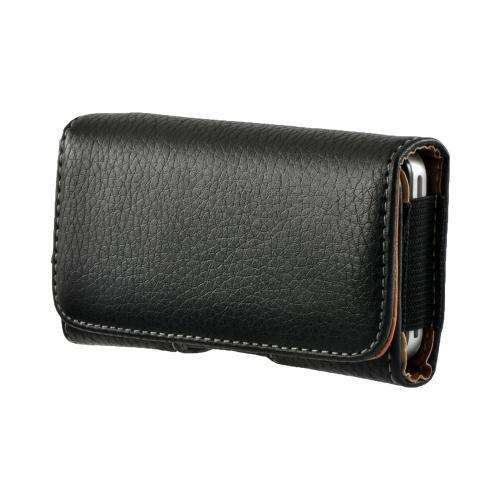 Black Universal Horizontal Leather Pouch w/ Magnetic Closure & Belt Clip for iPhone 4 Sized Phones (PUT)