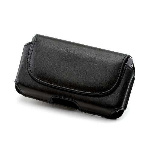 Universal Black Faux Leather Horizontal Pouch w/ Magnetic Closure & Belt Clip for Samsung Galaxy S3 Sized Phones - (PU2TXL)