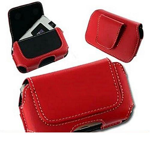 Motorola Razr V3 / Samsung A900 / Samsung M610 Horizontal Leather Pouch Case - Red