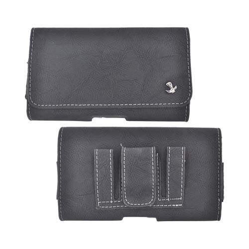 Universal Horizontal Leather Pouch w/ Magnetic Closure & Belt Clip for Samsung Galaxy S3, HTC One, & Motorola DROID RAZR HD Sized Phones - Black (PUT2XL)