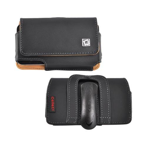 Cellet Horizontal Leather Pouch Magnetic Closure with Belt Clip - Black (PUT)