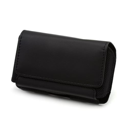 Premium Universal Leather Horizontal Pouch w/ Magnetic Closure & Belt Clip - Black (PUTXL)