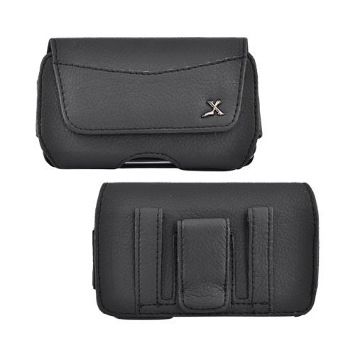 Universal Horizontal Leather Pouch Case w/ Belt Clip - Black (PUTL)