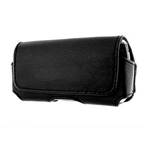 Universal Horizontal Leather Pouch w/ Magnetic Closure and Belt Clip- Black (BL)