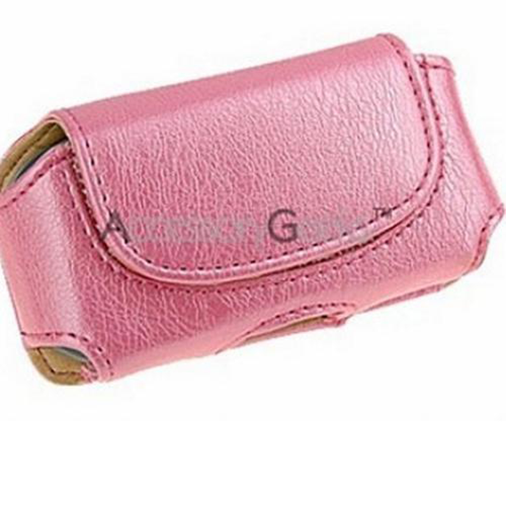Universal Horizontal Leather Pouch w/ Hidden Magnetic Closure - Baby Pink (FS)