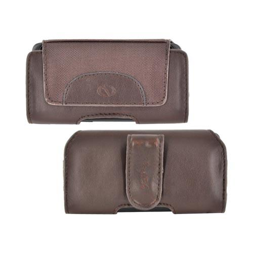 Original Naztech Marquee Universal Horizontal Leather Pouch w/ Nylon Accents, Belt Clip & Magnetic Closure - Brown (PUTL)