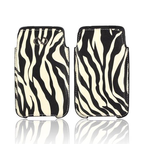 Original Naztech Safari Universal Vertical Leather Pouch - Black Zebra on White (PUTS)