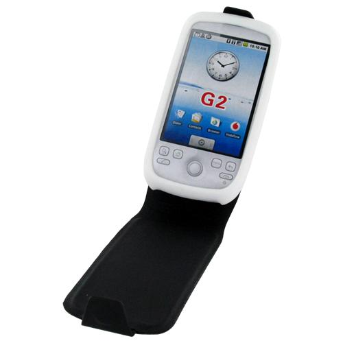T-Mobile MyTouch 3G Silicone Case, Rubber Skin Attached to Leather Fold - Black, White