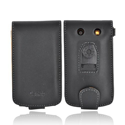 Premium Blackberry Bold 9000 Vertical Leather Wallet Case w/ Multiple Credit Card Slots - Black