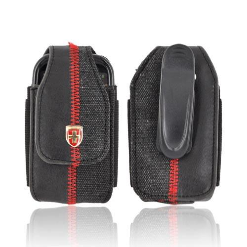 Original Swiss Leatherware Universal Vertical Leather & Canvas Pouch w/ Rotating Belt Clip & Magnetic Closure - Black w/ Red Stitching (BM)
