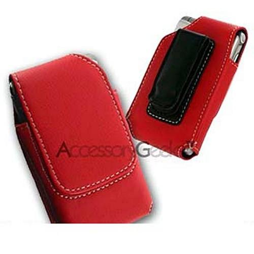 Motorola Razr V3 / Samsung A900 Vertical Leather Pouch Case - Red