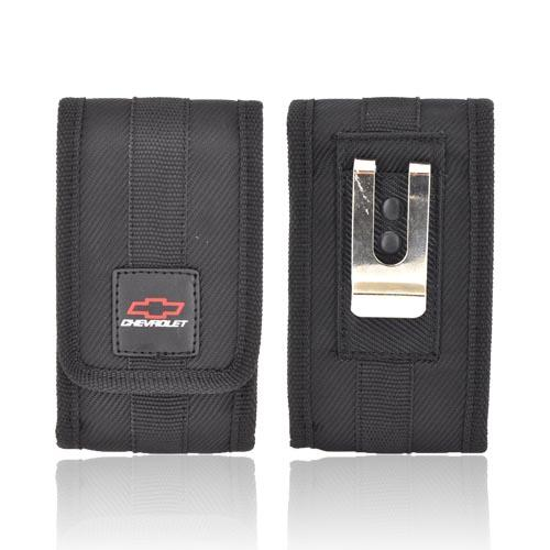 Original Chevrolet Universal Vertical Nylon Pouch Case w/ Magnetic Closure & Metal Belt Clip - Black (PUTS)