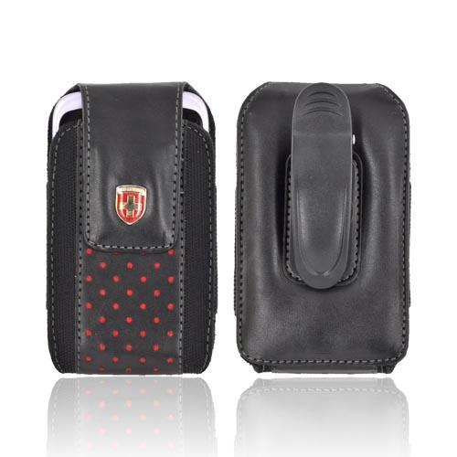 Original Swiss Leatherware Universal Vertical Leather & Nylon Pouch w/ Rotating Belt Clip & Magnetic Closure - Black w/ Red Polka Dots (PUTS)