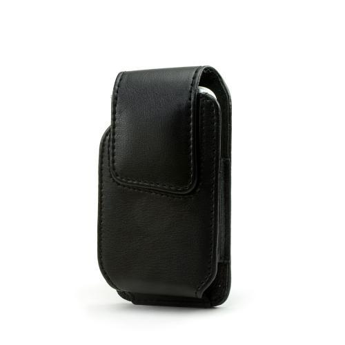 Universal Vertical Leather Pouch w/ Magnetic Closure and Swivel Belt Clip - Black (PDA)