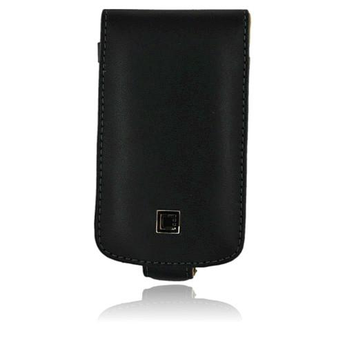 Premium Executive Blackberry Bold 9780 9700 Vertical Leather Book-Type Pouch w/ Detachable Belt Clip - Black