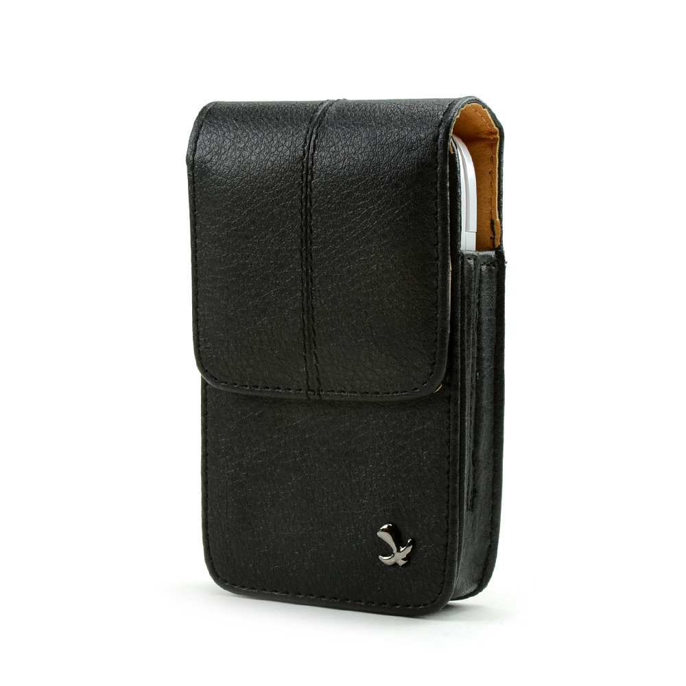 Universal Vertical Executive Leather Pouch w/ Belt Clip - Black (PUT, PUTS, PUTL Size)