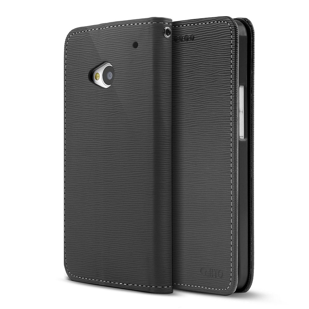 Black CellLine Faux Leather Diary Flip Stand Case w/ ID Slots & Bill Fold for HTC One