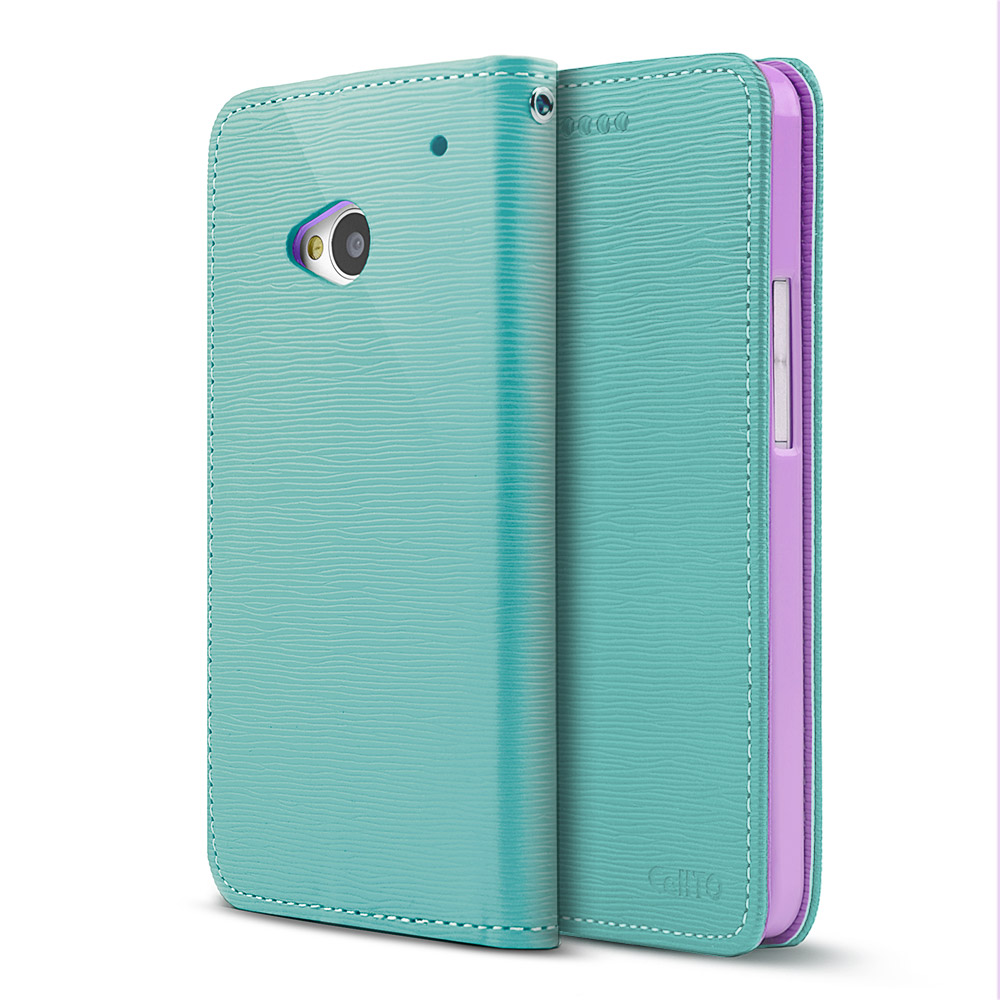 Mint/ Lavender CellLine Faux Leather Diary Flip Stand Case w/ ID Slots & Bill Fold for HTC One