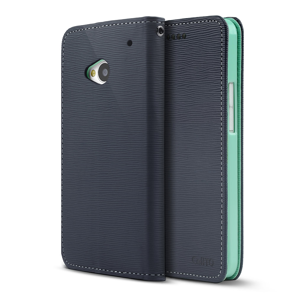 Navy/ Mint CellLine Faux Leather Diary Flip Stand Case w/ ID Slots & Bill Fold for HTC One