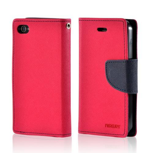 Hot Pink/ Navy Blue Mercury Diary Flip Cover Crystal Silicone Case w/ ID Slots for Apple iPhone 4/4S