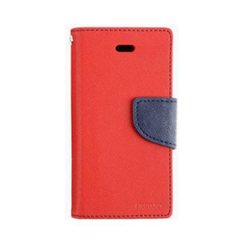Red/ Navy Blue Mercury Diary Flip Cover Crystal Silicone Case w/ ID Slots for Apple iPhone 4/4S