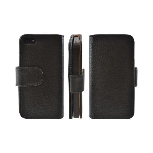 Premium Apple iPhone 5 Leather Wallet Case Pouch w/ ID Slots - Black