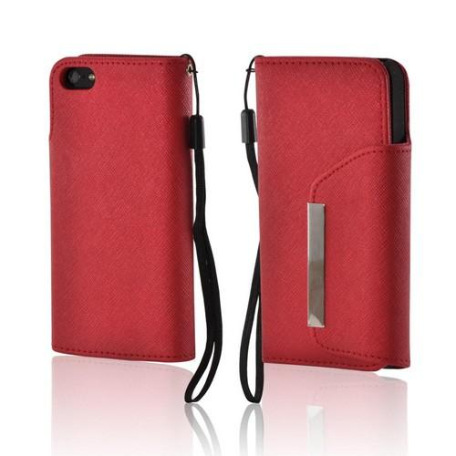 Red/ Black Faux Leather Diary Case w/ Wrist Strap & ID Slots for Apple iPhone 5/5S