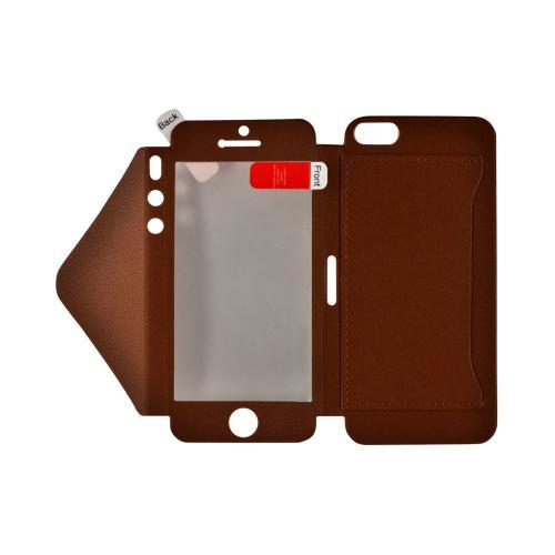 Brown Leather Wallet Case w/ Built-In Screen Protector & ID Slot for Apple iPhone 5