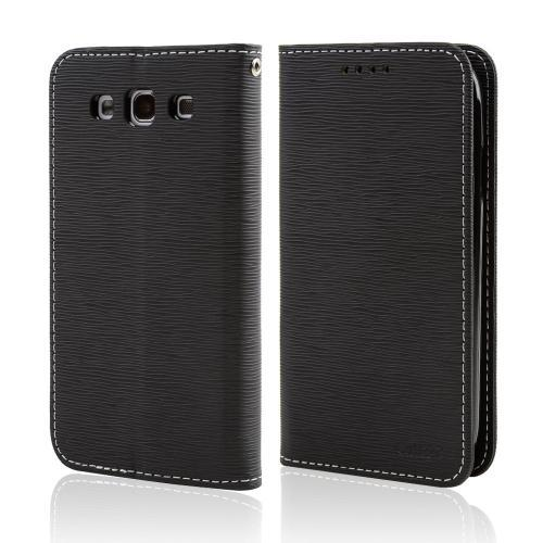 Black CellLine Faux Leather Diary Flip Stand Case w/ ID Slots & Bill Fold for Samsung Galaxy S3