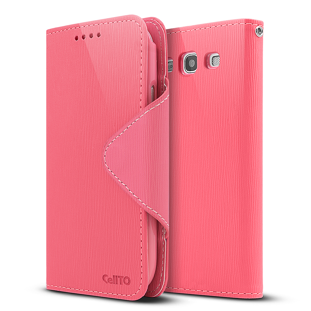 Hot Pink/ Baby Pink CellLine Faux Leather Diary Flip Stand Case w/ ID Slots & Bill Fold for Samsung Galaxy S3