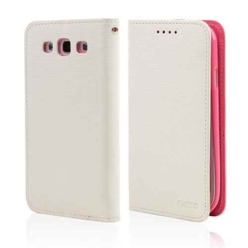 White/ Hot Pink CellLine Faux Leather Diary Flip Stand Case w/ ID Slots & Bill Fold for Samsung Galaxy S3