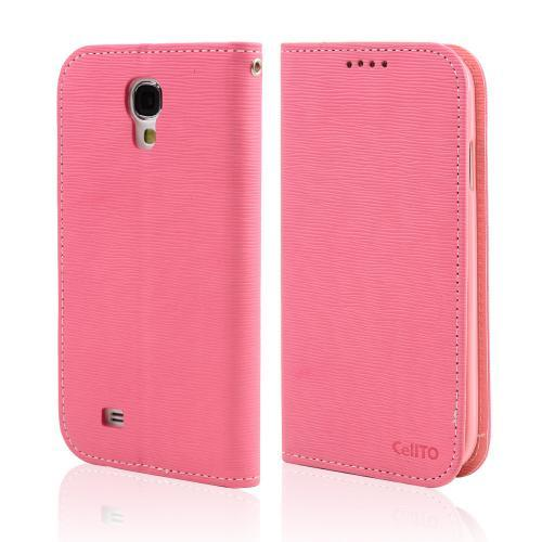 Hot Pink/ Baby Pink CellLine Faux Leather Diary Flip Stand Case w/ ID Slots & Bill Fold for Samsung Galaxy S4