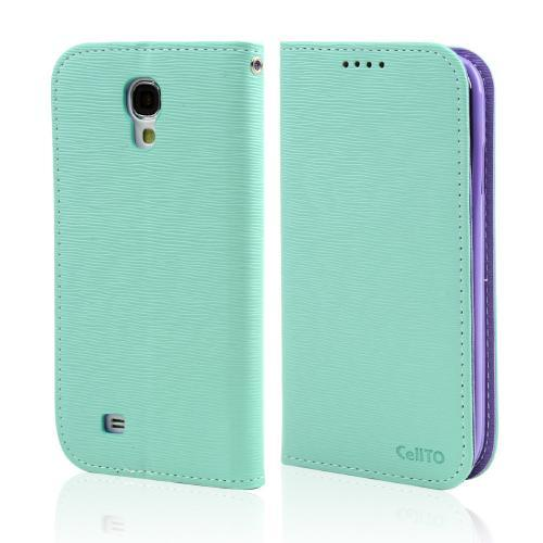Mint/ Lavender CellLine Faux Leather Diary Flip Stand Case w/ ID Slots & Bill Fold for Samsung Galaxy S4