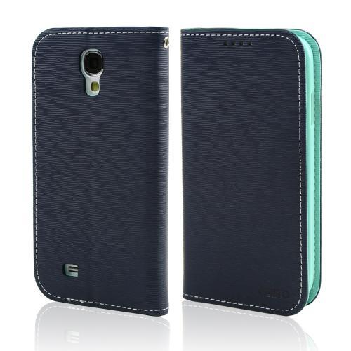 Navy/ Mint CellLine Faux Leather Diary Flip Stand Case w/ ID Slots & Bill Fold for Samsung Galaxy S4