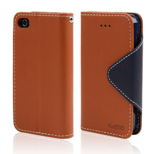 Brown/ Navy Blue CellLine Faux Leather Diary Flip Case w/ ID Slots, Bill Fold, & Magnetic Closure for Apple iPhone 4/4S