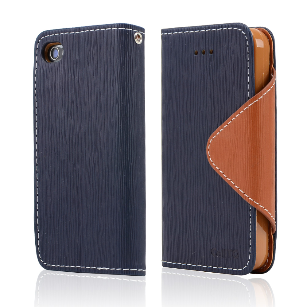 Navy Blue/ Brown CellLine Faux Leather Diary Flip Case w/ ID Slots, Bill Fold, & Magnetic Closure for Apple iPhone 4/4S