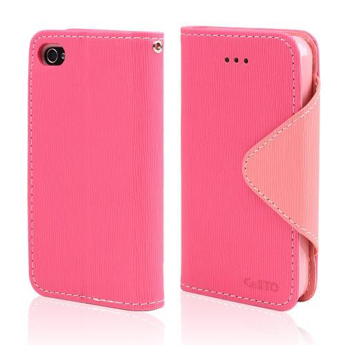 Hot Pink/ Baby Pink CellLine Faux Leather Diary Flip Case w/ ID Slots & Bill Fold, & Magnetic Closure for Apple iPhone 4/4S