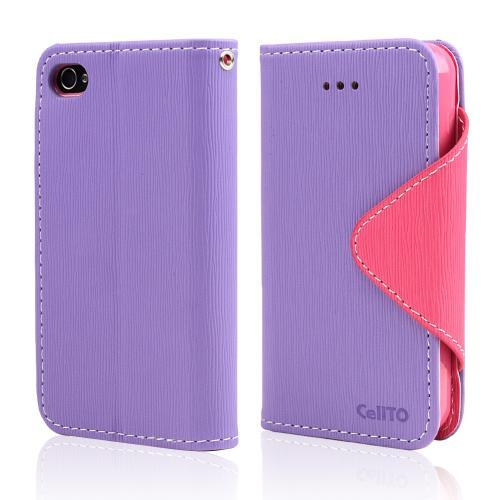 Lavender/ Baby Pink CellLine Faux Leather Diary Flip Case w/ ID Slots, Bill Fold, & Magnetic Closure for Apple iPhone 4/4S