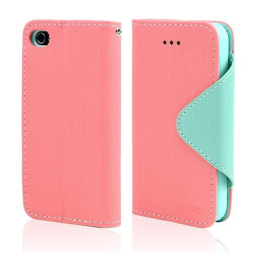 Light Melon/ Mint CellLine Faux Leather Diary Flip Case w/ ID Slots, Bill Fold, & Magnetic Closure for Apple iPhone 4/4S