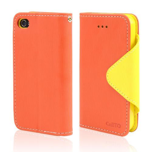 Orange/ Yellow CellLine Faux Leather Diary Flip Case w/ ID Slots, Bill Fold, & Magnetic Closure for Apple iPhone 4/4S