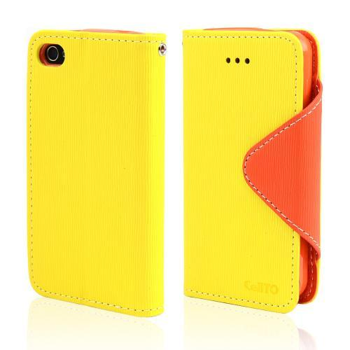 Yellow/ Orange CellLine Faux Leather Diary Flip Case w/ ID Slots, Bill Fold, & Magnetic Closure for Apple iPhone 4/4S