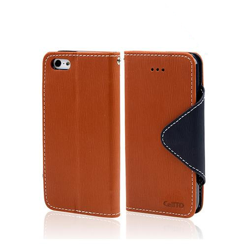 Brown/ Navy Blue Exclusive CellLine Faux Leather Diary Flip Case w/ ID Slots & Bill Fold for Apple iPhone 5/5S
