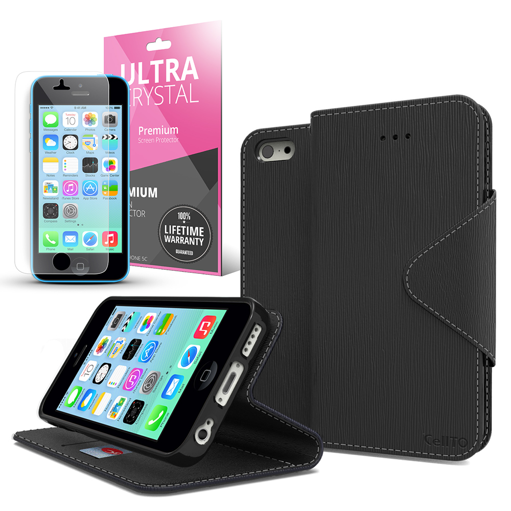Black CellLine Faux Leather Diary Flip Case w/ ID Slots, Bill Fold, Magnetic Closure & Free Screen Protector for Apple iPhone 5C