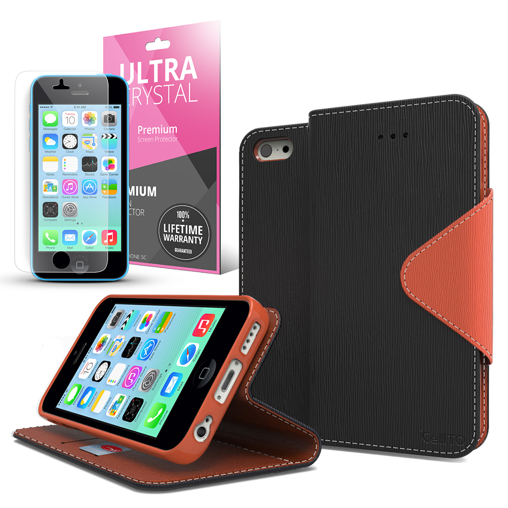Black/ Brown CellLine Faux Leather Diary Flip Case w/ ID Slots, Bill Fold, Magnetic Closure & Free Screen Protector for Apple iPhone 5C