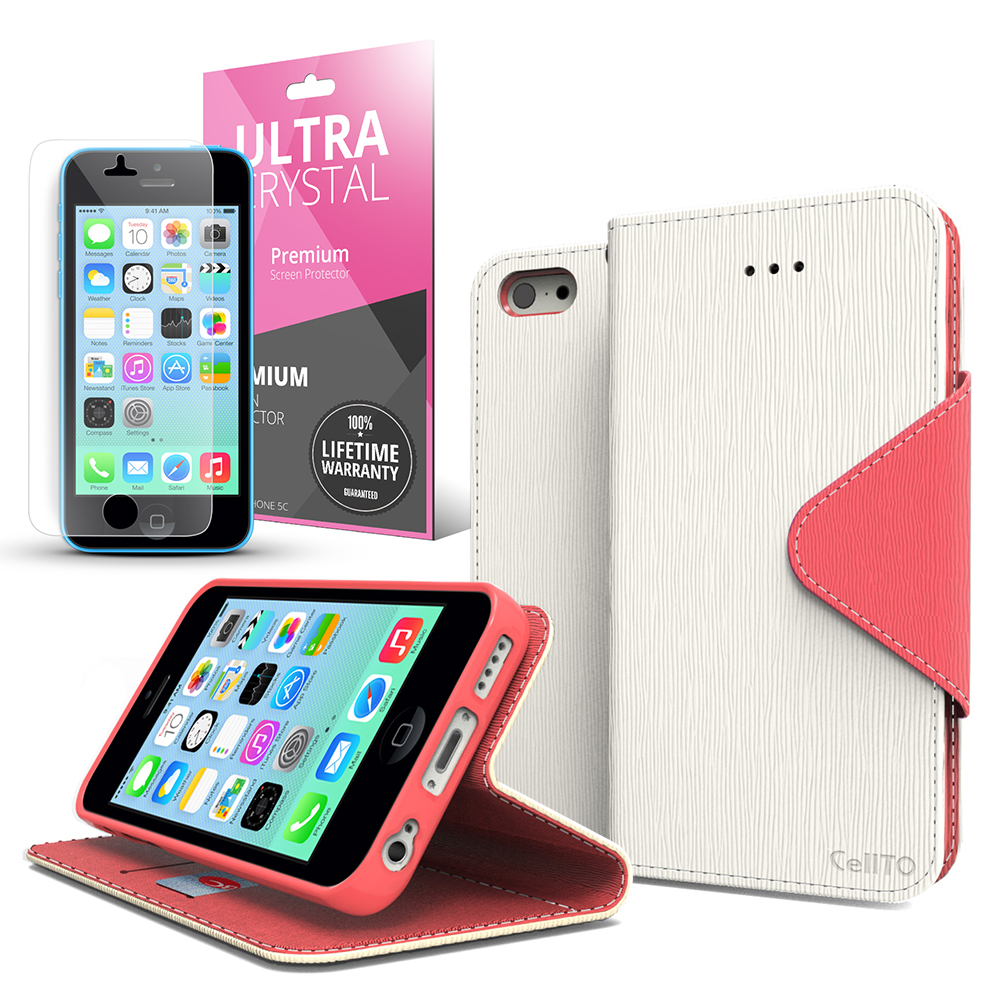 White/ Hot Pink CellLine Faux Leather Diary Flip Case w/ ID Slots, Bill Fold, Magnetic Closure & Free Screen Protector for Apple iPhone 5C