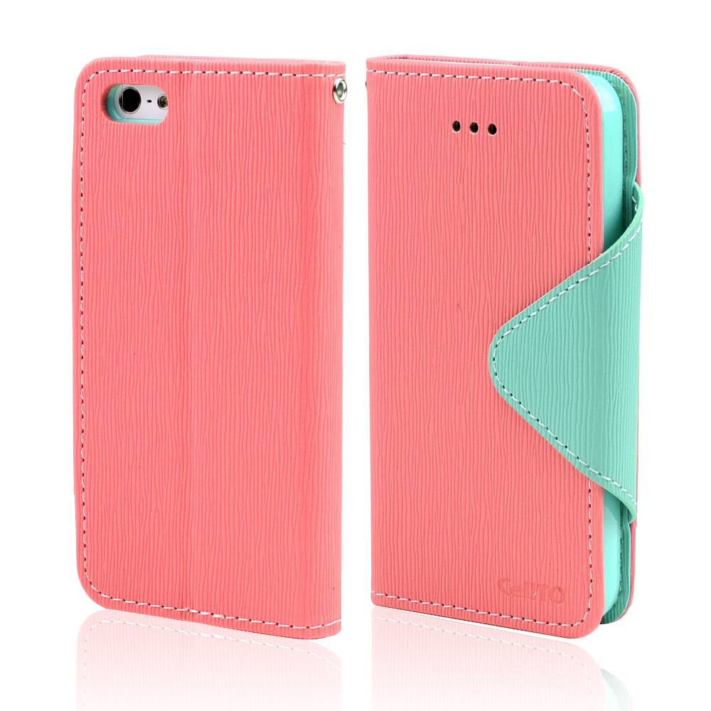 Light Melon/ Mint Exclusive CellLine Faux Leather Diary Flip Case w/ ID Slots & Bill Fold for Apple iPhone 5/5S