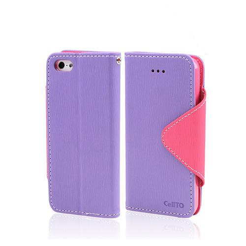 Lavender/ Baby Pink Exclusive CellLine Faux Leather Diary Flip Case w/ ID Slots & Bill Fold for Apple iPhone 5/5S