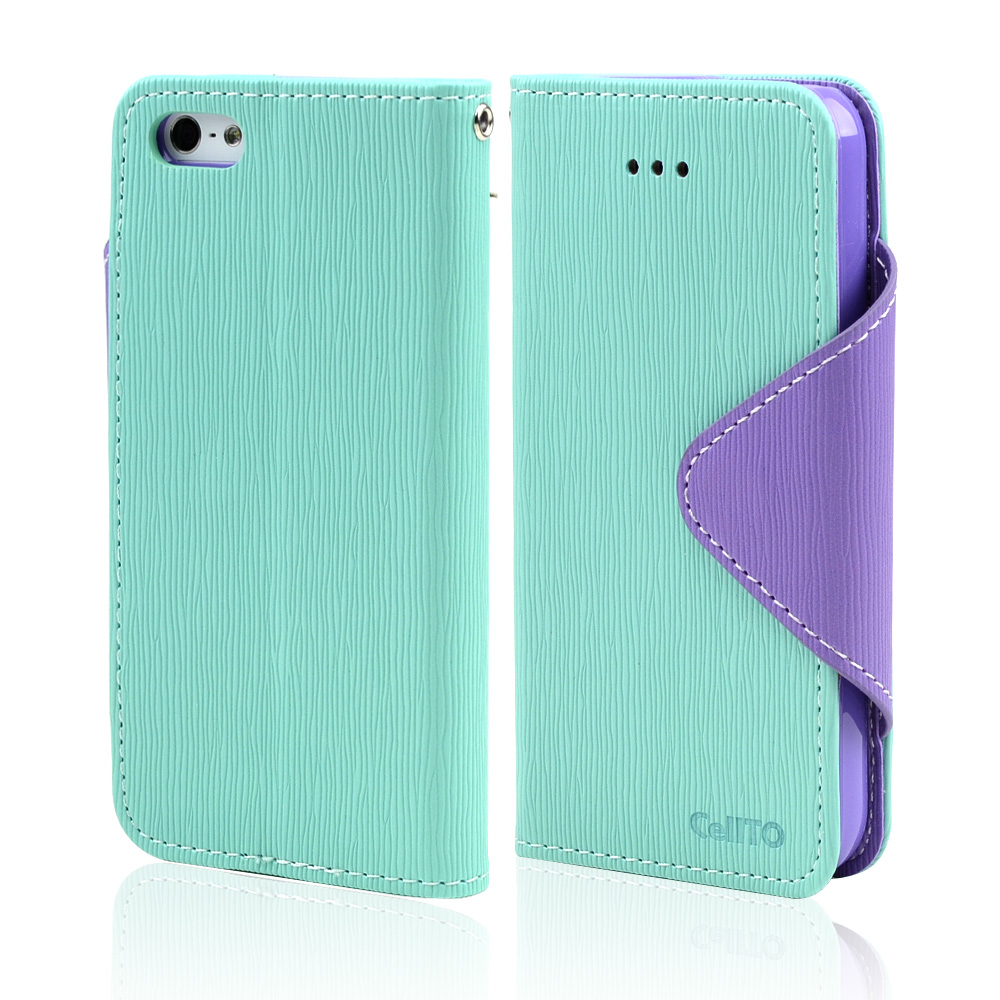 Mint/ Lavender Exclusive CellLine Faux Leather Diary Flip Case w/ ID Slots, Bill Fold, & Magnetic Closure for Apple iPhone 5/5S