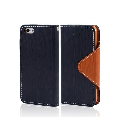Navy Blue/ Brown Exclusive CellLine Faux Leather Diary Flip Case w/ ID Slots & Bill Fold for Apple iPhone 5/5S