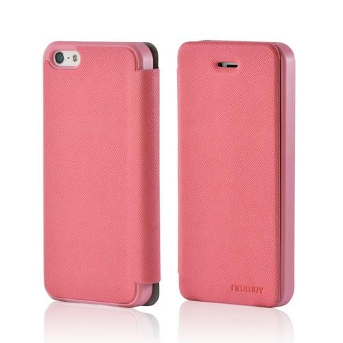 Pink Mercury Nylon Fancy Diary Case w/ ID Slot for Apple iPhone 5/5S